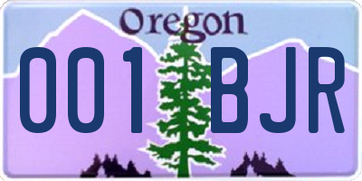 OR license plate 001BJR