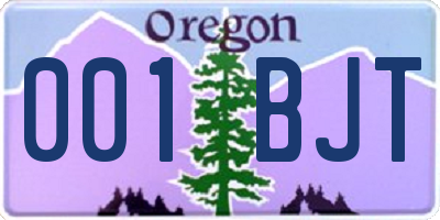 OR license plate 001BJT
