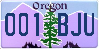 OR license plate 001BJU