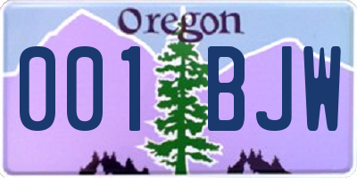 OR license plate 001BJW