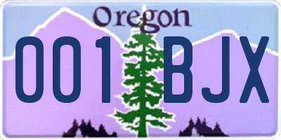 OR license plate 001BJX