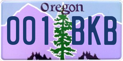 OR license plate 001BKB