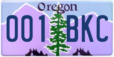 OR license plate 001BKC