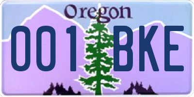 OR license plate 001BKE