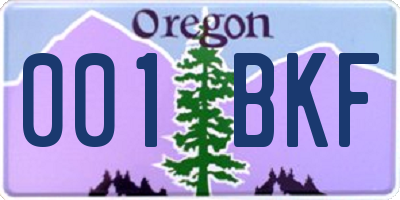 OR license plate 001BKF