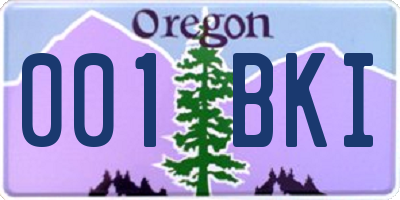 OR license plate 001BKI