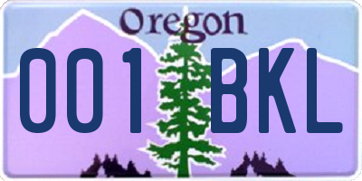 OR license plate 001BKL