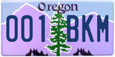 OR license plate 001BKM