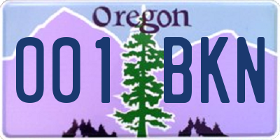OR license plate 001BKN