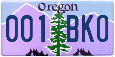OR license plate 001BKO