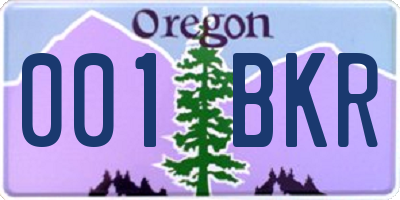 OR license plate 001BKR