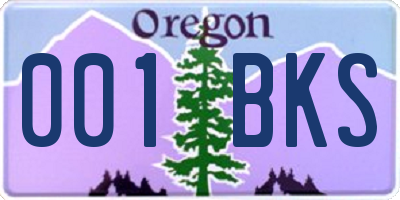 OR license plate 001BKS
