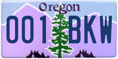 OR license plate 001BKW