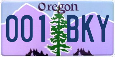 OR license plate 001BKY