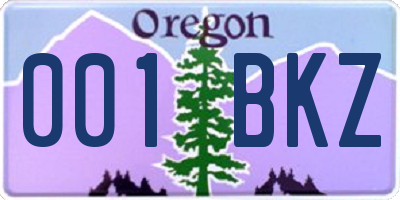 OR license plate 001BKZ