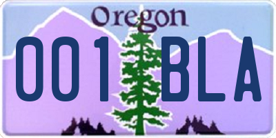 OR license plate 001BLA