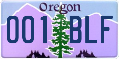 OR license plate 001BLF