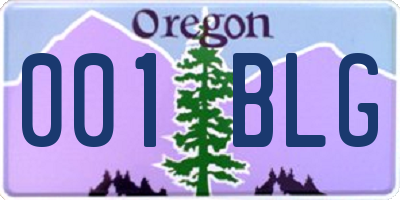 OR license plate 001BLG