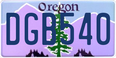 OR license plate DGB540