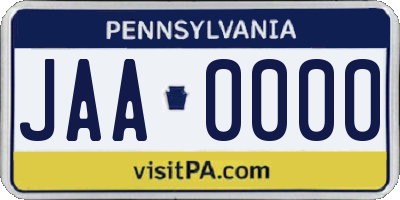 PA license plate JAA0000