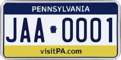 PA license plate JAA0001