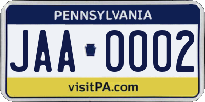 PA license plate JAA0002