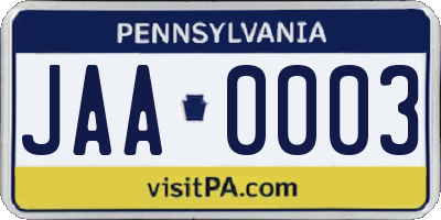PA license plate JAA0003