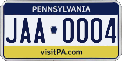 PA license plate JAA0004