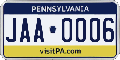 PA license plate JAA0006