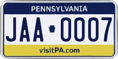 PA license plate JAA0007