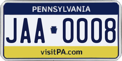 PA license plate JAA0008
