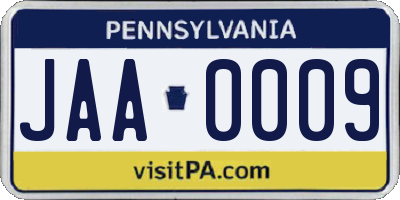 PA license plate JAA0009