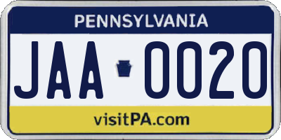 PA license plate JAA0020