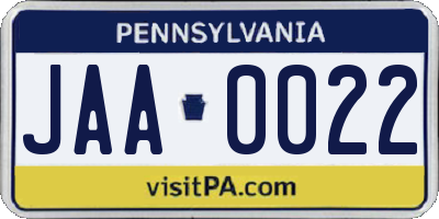 PA license plate JAA0022