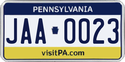 PA license plate JAA0023