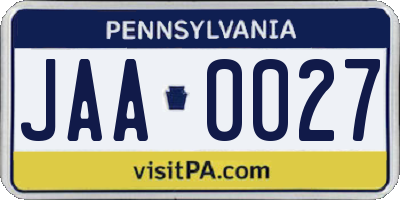 PA license plate JAA0027