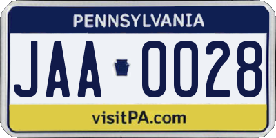 PA license plate JAA0028
