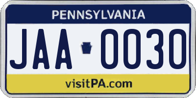 PA license plate JAA0030