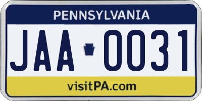 PA license plate JAA0031