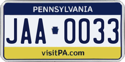 PA license plate JAA0033