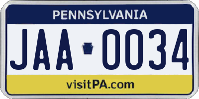 PA license plate JAA0034