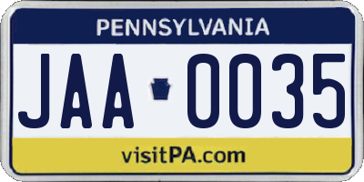 PA license plate JAA0035