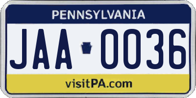 PA license plate JAA0036