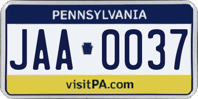 PA license plate JAA0037