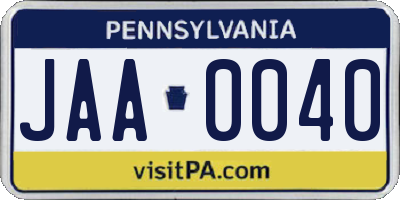 PA license plate JAA0040