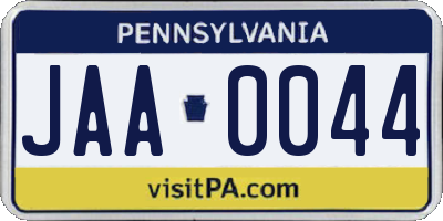 PA license plate JAA0044
