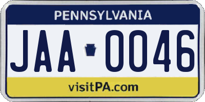 PA license plate JAA0046