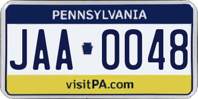 PA license plate JAA0048