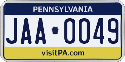 PA license plate JAA0049