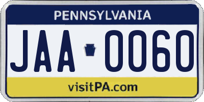 PA license plate JAA0060